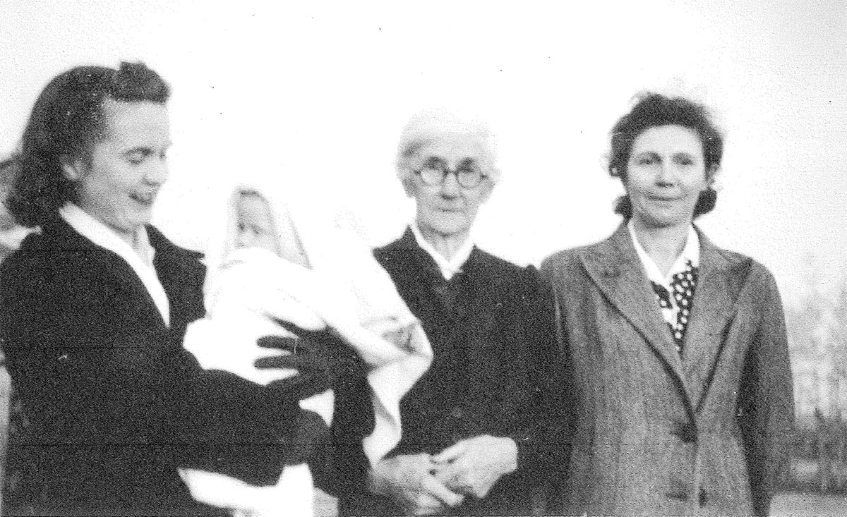 Peggy with son Geordie, Grandmother and her mother Marion